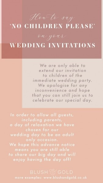 How To Say 'no Children' Please On Tour Wedding Invites