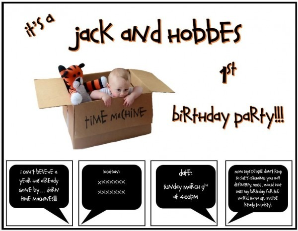 Calvin And Hobbes 1st Birthday Party Invitation!