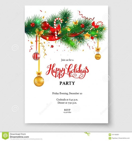 Christmas Card Tree Decoration Stock Vector