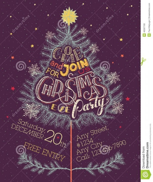 Christmas Eve Party Invitation Stock Vector