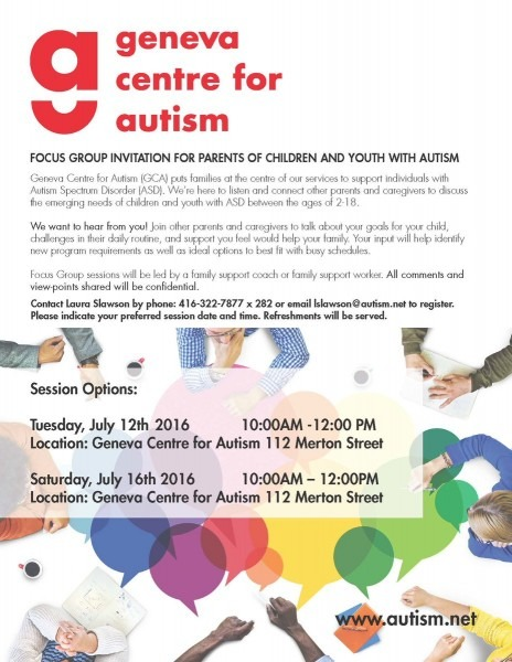 Geneva Centre For Autism On Twitter   Focus Group Invitation For