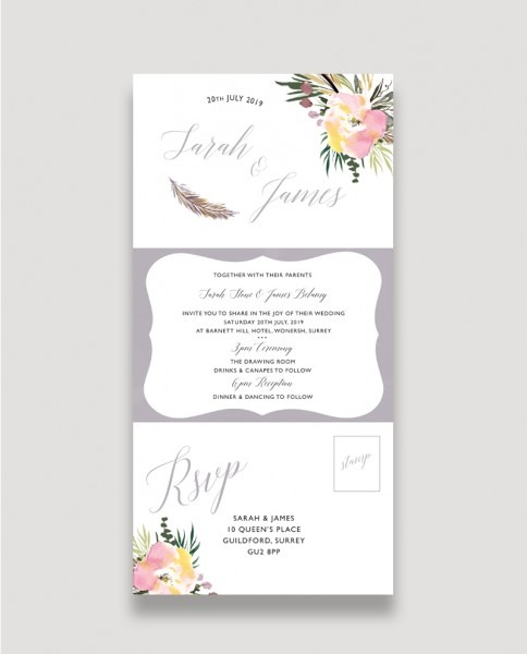 All In One Summer Rose Wedding Invitation
