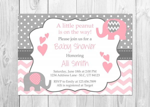 Baby Shower  Pink And Gray Baby Shower Invitations  Baby Shower