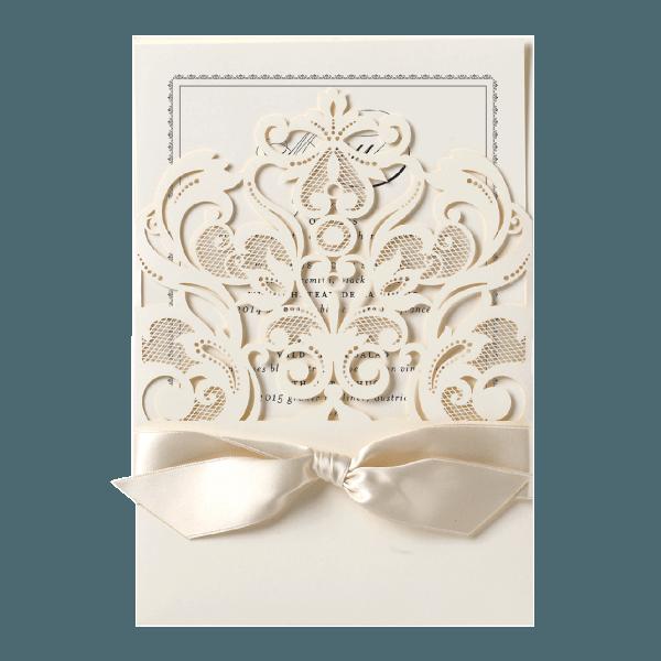 Ivory Laser Cut Crown Pocket Invitation
