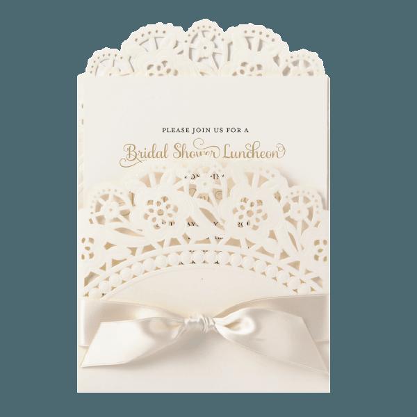Ivory Double Scallop Lace Pocket Invitation