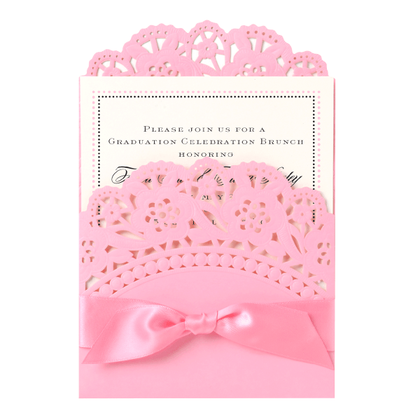 Pink Double Scallop Lace Pocket Invitation