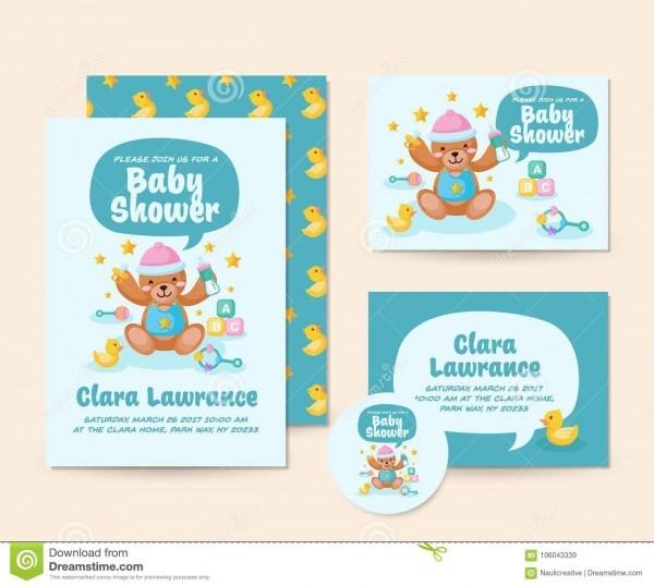 Cute Teddy Bear Theme Baby Shower Invitation Card Illustration