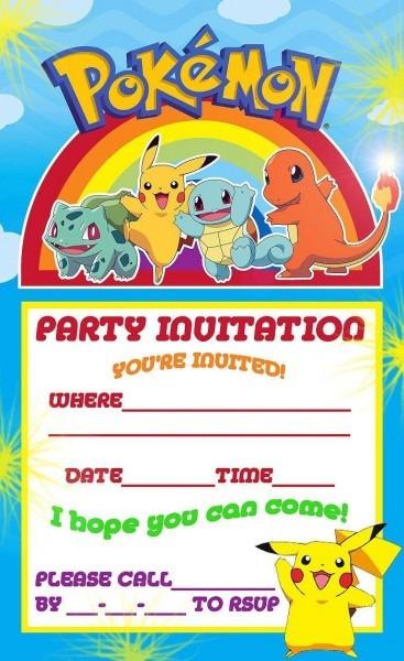 Free Printable Pokemon Birthday Party Invitations