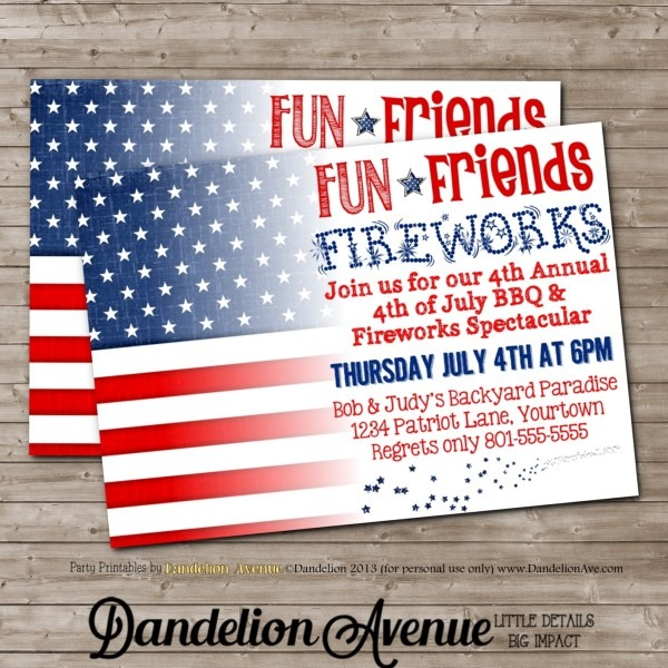 Fourth Of July Bbq & Fireworks Party Invitation 2