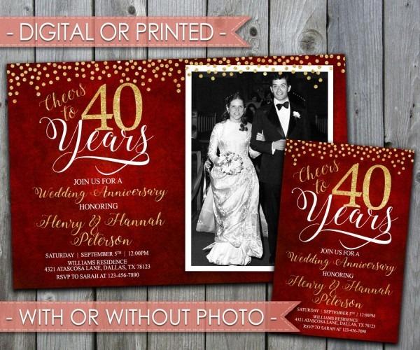 40th Wedding Anniversary Invitation, Wedding Anniversary Invite