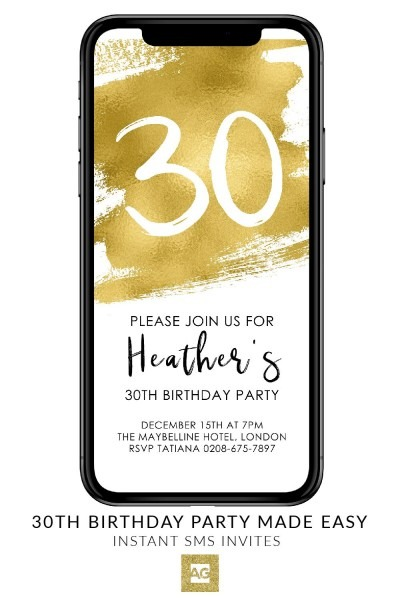Gold Electronic Birthday Invitation, Event Invite, Editable