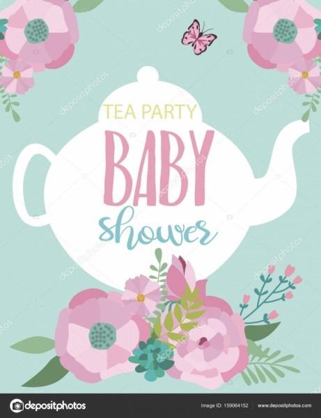 Invitation Card For Baby Shower Tea Party — Stock Vector © Vissay