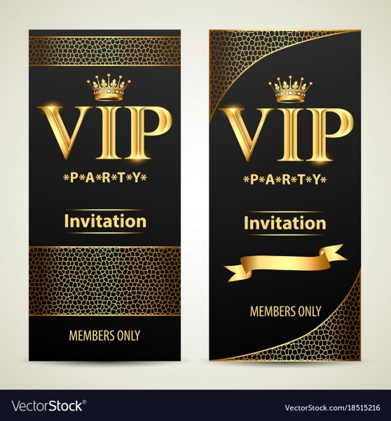 Elegant, Vip, Invitation, Card, With, Golden & Ribbons Vector
