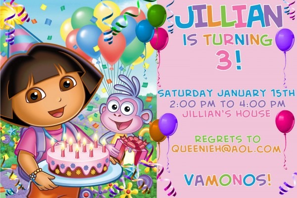 Send Attractive Dora The Explorer Invitation Cards For Your Kid's