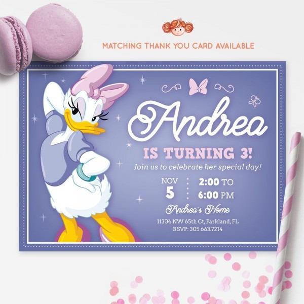 Daisy Duck Invitation, Daisy Ducks, Printable Kids Invitation