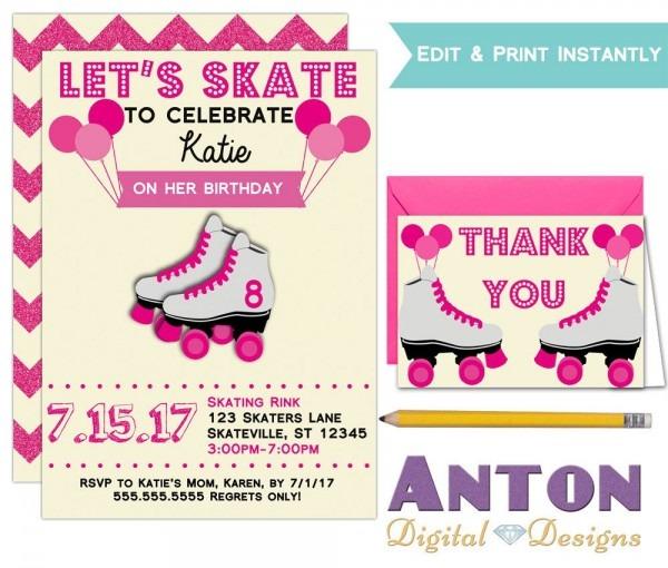 Printable Girls Roller Skating Birthday Party Invitations