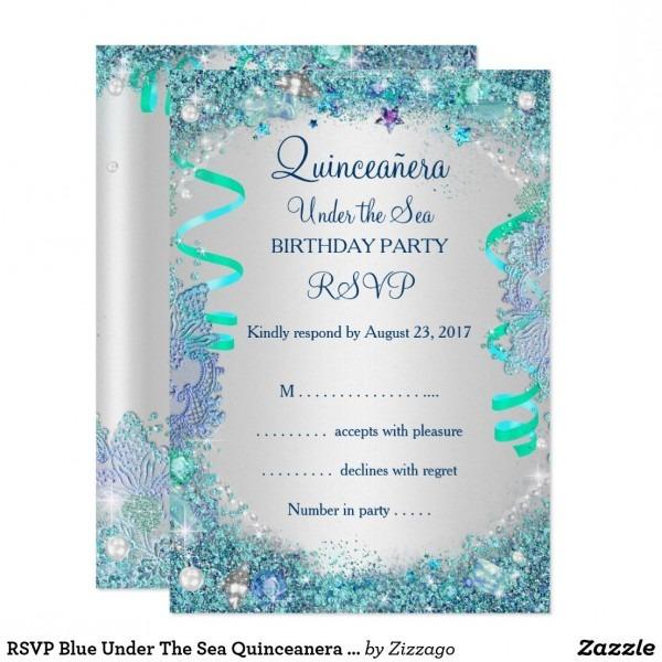Rsvp Blue Under The Sea Quinceanera 15th Birthday