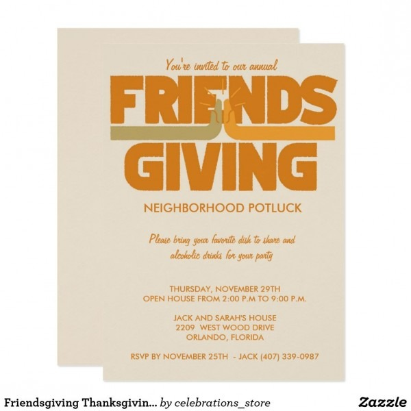 Friendsgiving Thanksgiving Party Invitation Friendsgiving
