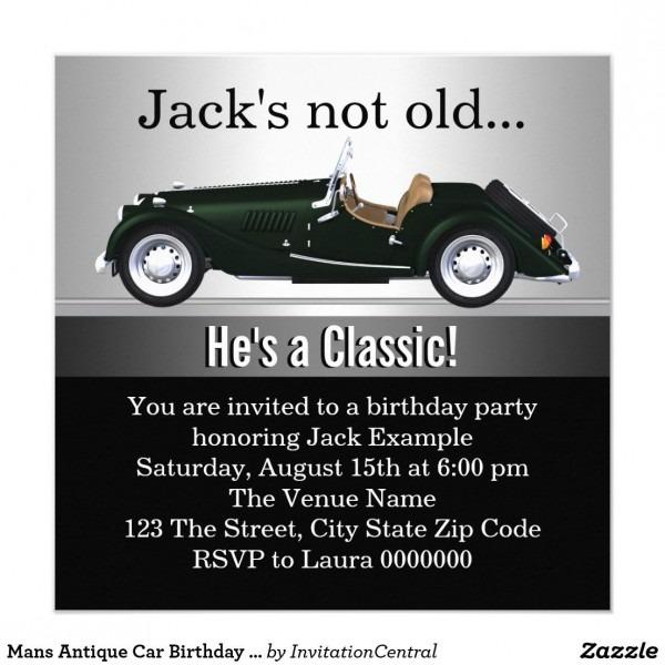 Mans Antique Car Birthday Party Invitation