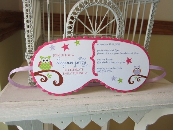 Sleeping Mask Invitation Custom Die Cut