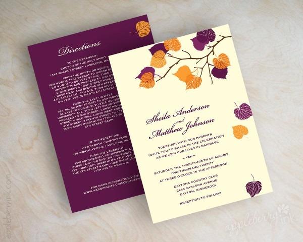 Amazing Fall Wedding Invitations Fall Wedding Invitations 21st