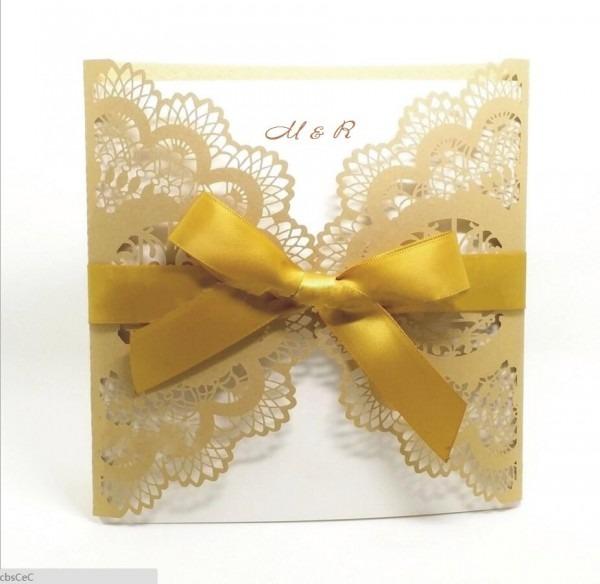 Elegant Gold Laser Cut Lace Flower Wedding Invitations Card