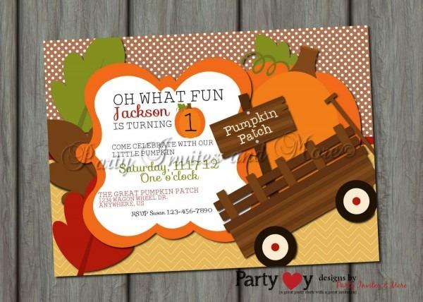 Pumpkin Birthday Invitation Pumpkin Patch By Partyinvitesandmore