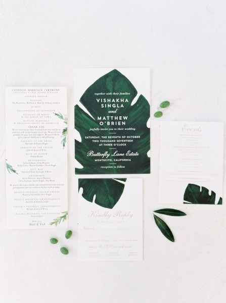 Minted Wedding Stationery, Green And White Wedding Invitation