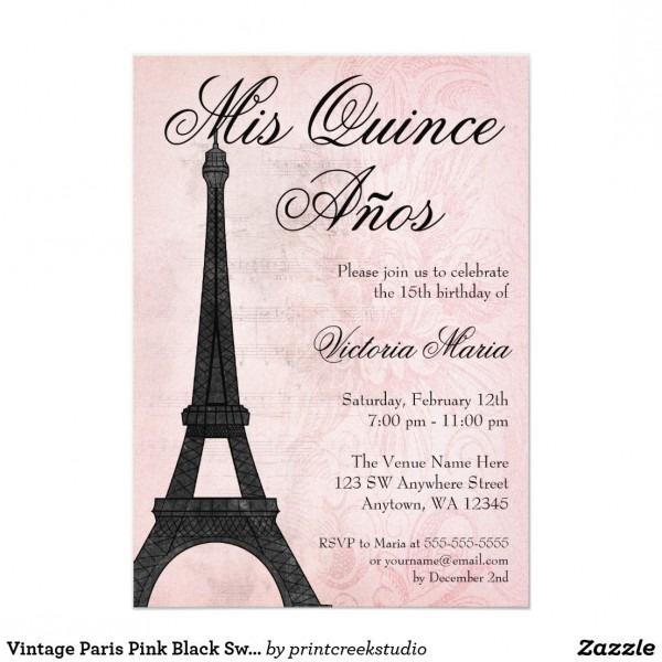 Vintage Paris Pink Black Sweet 15 Quinceanera Invitation