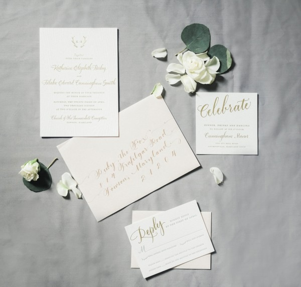 Understated And Elegant Cream And Gold Wedding Invitations