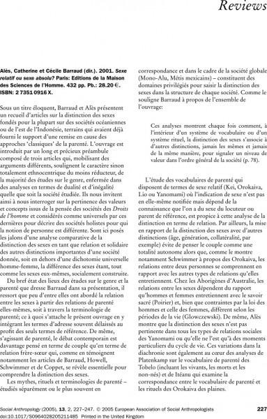 Llobera, Josep R  2003  An Invitation To Anthropology  The