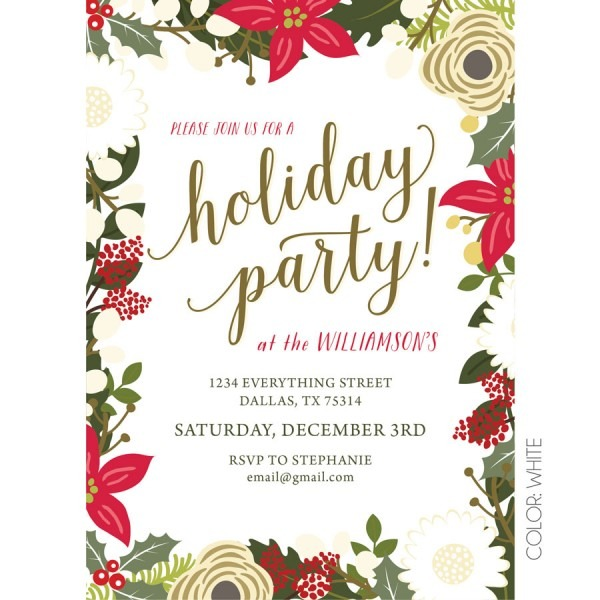 Floral Holiday Party Invitation