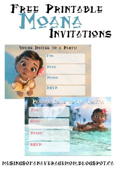 Musings Of An Average Mom  Free Printable Moana Invitations