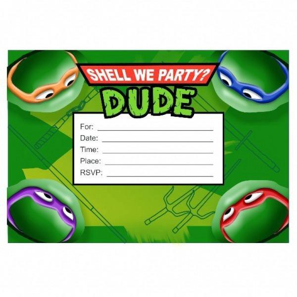 Free Printable Ninja Turtle Invitation Templates Birthday Party