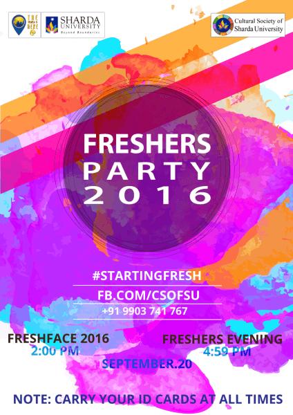 Freshers Party 2016 – Sharda University On 20th Sept'16