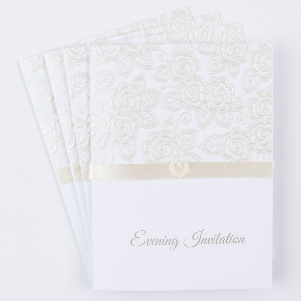 Luxury Pearl Evening Wedding Invitations, Pack Of 10