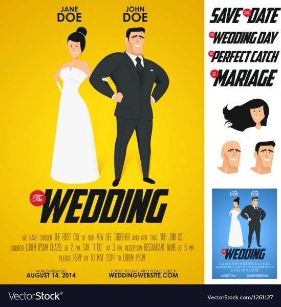 Funny Glossy Movie Poster Wedding Invitation Vector Image