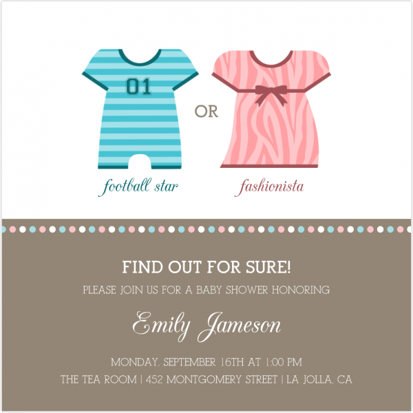 Amazing Gender Reveal Baby Shower Invitations