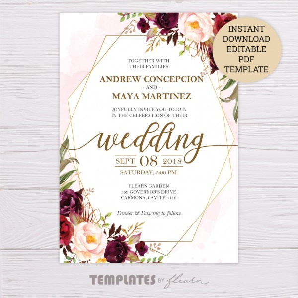 Marsala Flowers With Gold Frame Wedding Invitation Template
