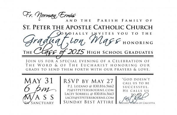 Graduation Mass – St  Peter's Posse