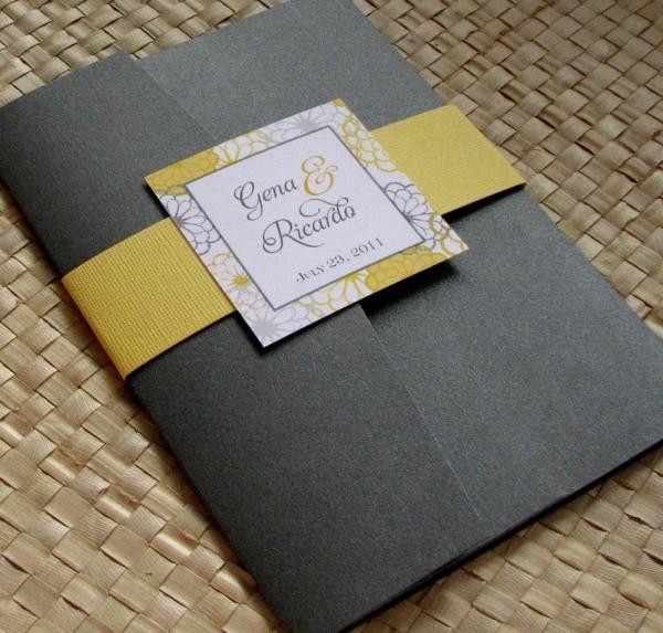 Gray And Yellow Wedding Invitation Kits
