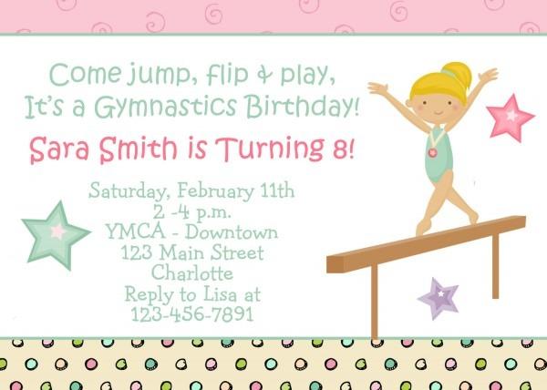 Gymnastics Birthday Invitations Gymnastics Birthday Invitations