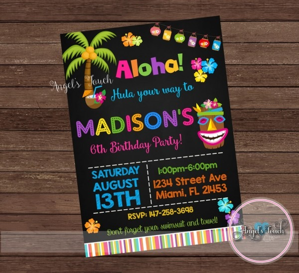 Hawaiian Luau Party Invitations