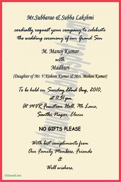 Hindu Wedding Card Matter Unique New Beautiful Quotes For Wedding