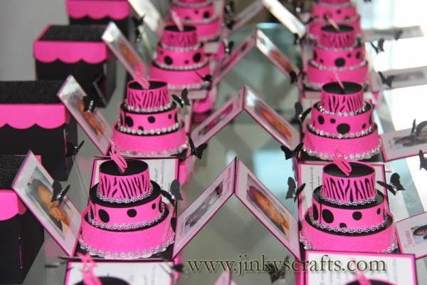 Jinky's Crafts & Designs  Hot Pink Zebra Print Cakes Invites