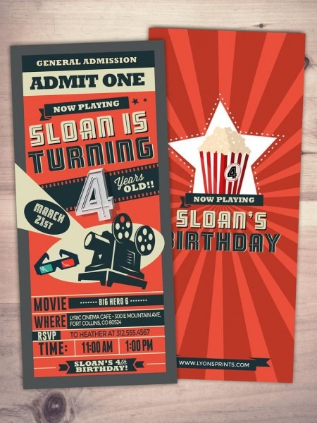 Movie Ticket Invitations Birthday Movie Theater Invite