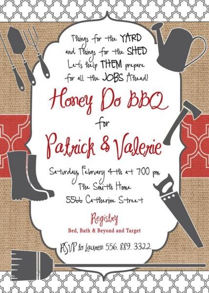 Honey Do Bbq Invitation Printable Digital File I Do Bbq Honey