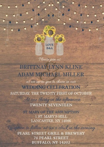 Rustic Sunflower Mason Jar Wedding Invitation Mason Jar