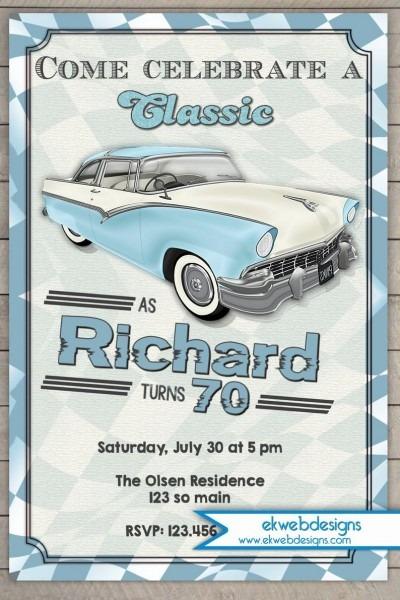 Classic Car Birthday Invitation Vintage Car Adults Birthday