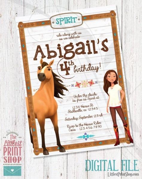 Spirit Riding Free Invitation Birthday Invite Digital